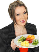 Young Business Woman With Five A Day Food Selection — Stock Photo
