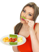 Young Woman Eating Five A Day — Stock Photo