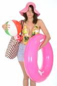 Young Woman Wearing a Swim Suit on Holiday Carrying a Beach Ball — Stock Photo