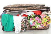 Overflowing Full Suitcase Unable to Close — Stock Photo
