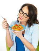 Beautiful Young Woman Holding Wearing Black Framed Glasses Holding a Plate of Fusilli Pasta — ストック写真