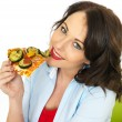 Happy Pretty Young Woman Eating a Slice of Baked Pizza — Stock Photo #73064717