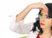 Ortrait of a Confused Thoughtful Young Hispanic Woman — Stock Photo