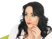 Calm Relaxed Thoughtful Pensive Beautiful Young Hispanic Woman — Stock Photo