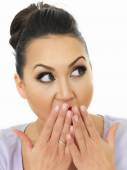Portrait Of A Very Shocked And Surprised Beautiful Young Hispanic Woman Covering Her Mouth With Her Hands — Stock Photo