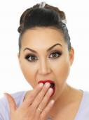 Portrait Of A Very Shocked And Surprised Beautiful Young Hispanic WomanCovering Her Mouth With Her Hands — Stock Photo