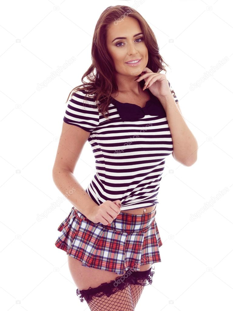 Beautiful Young Hispanic Woman Posing in a Very Short Mini Skirt ...