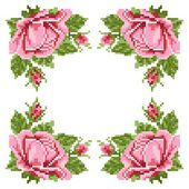 Frame of the roses, embroider — Stock Vector