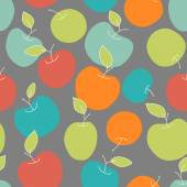 Colorful seamless pattern from apples — Stock Vector