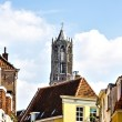 View of the Dom tower from a small street. Cathedral (Dom) towe — Stock Photo #74612203