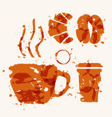 Coffee elements of watercolor stains. — Stock Vector