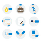 Icons hand businessman with different objects — Stock Vector
