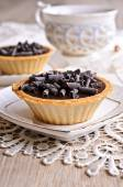 Tartlet with chocolate — Stock Photo