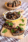 Sandwich with sauteed mushrooms — Stock Photo