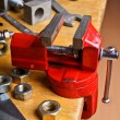 The vise to clamp on the desktop — Stock Photo #58925041