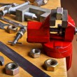 The vise to clamp on the desktop — Stock Photo #58925043
