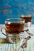 Brown tea in a glass Cup — Stock Photo