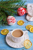 White Cup of hot drink brown color — Stock Photo