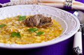 Soup with pearl barley and meat — Stockfoto