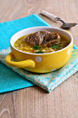 Soup with pearl barley and meat — Stock Photo
