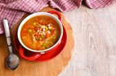 Soup with small pasta and vegetables — Stock Photo