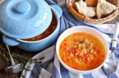 Soup of red lentils and vegetables — Stock Photo