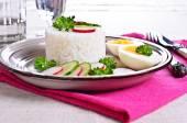 White rice with radish, cucumber and eggs — Stock Photo