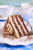 Brown cake with cream — Stock Photo