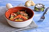 Casserole of eggplant and tomato with cheese — Stock Photo