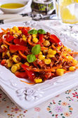 Brown rice with vegetables — Stockfoto