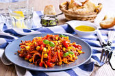 Brown rice with vegetables — Stock Photo