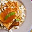 Постер, плакат: Waffles with jam and ricotta