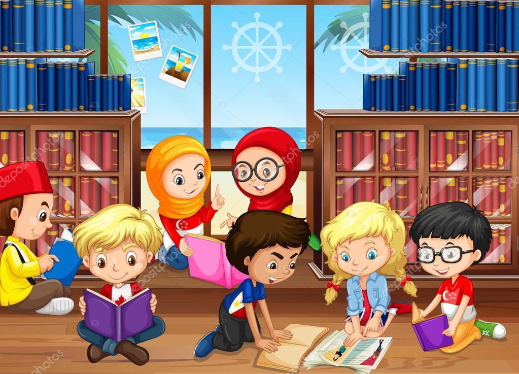Imagen De Niño Leyendo Para Colorear: Niños Leyendo Libros En Biblioteca