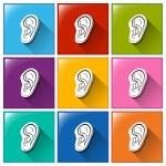 Постер, плакат: Sense of hearing icons