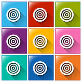 Icons with target boards — Stock Vector