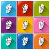 Sense of hearing icons — Stok Vektör