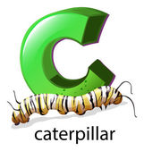 A letter C for caterpillar — Stock Vector