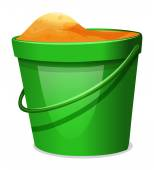 A green pail with sands — Stock Vector