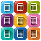 Icons with calculators — Stock Vector