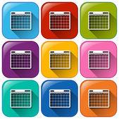 Phone calendar icons — Vecteur