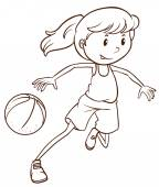 A simple sketch of a female basketball player — Vecteur