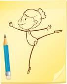Un dibujo de una chica bailando — Vector de stock