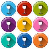 Verre à vin icônes — Vecteur