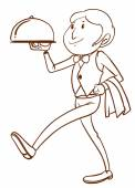 A simple drawing of a waiter — Vettoriale Stock