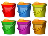 Colourful pails with sands — Stock Vector