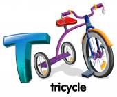 A letter T for tricycle — Stock Vector