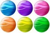 Six colourful balls — Stock Vector
