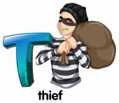 A letter T for thief — Stock Vector