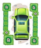 A topview of a green car — Stock Vector