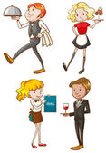 Simple sketches of the waiters and waitresses — Stock Vector